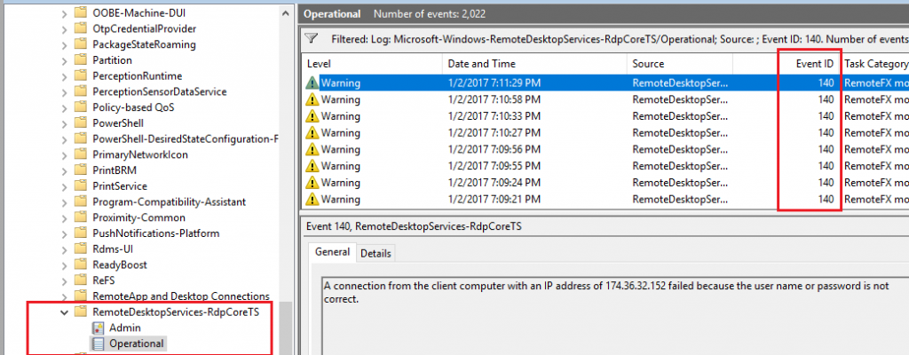 Event IDs 140 and 131 in the RemoteDesktopServices-RDPCoreTS channel log hold the keys to correlating RDS logon failures by originating IP.