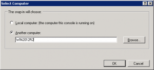 2.)  Enter in the name of your Windows Server 2012 R2 box, and click 'OK' to connect to it.