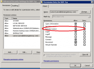 5.)  Add the user/group you want to add granular permissions for.  Click 'Edit' to view the detailed permissions you can grant in the DACL.  For shadowing, only the 'Remote Control' permission is required.