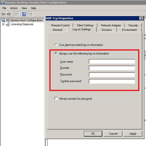 Creating a cached RDP login on Windows Server 2008
